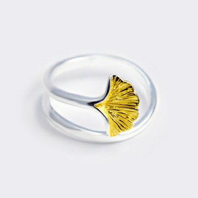 925純銀戒指開口戒~原創文藝杏葉 情人節生日 女飾品73dt538~ ~~米蘭 ~ ~
