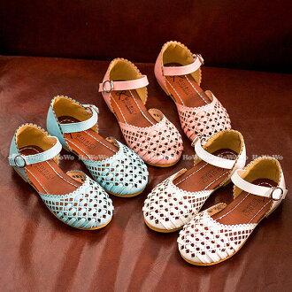 涼鞋 縷空包頭PU涼鞋公主鞋(16-18.5公分) KL70 好娃娃