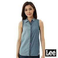 牛仔襯衫推薦到Lee 無袖牛仔拼接襯衫-女-藍就在Lee Jeans tw推薦牛仔襯衫