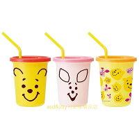 小熊維尼周邊商品推薦asdfkitty可愛家☆小熊維尼3入塑膠吸管杯-320ML-橘粉紅-日本製