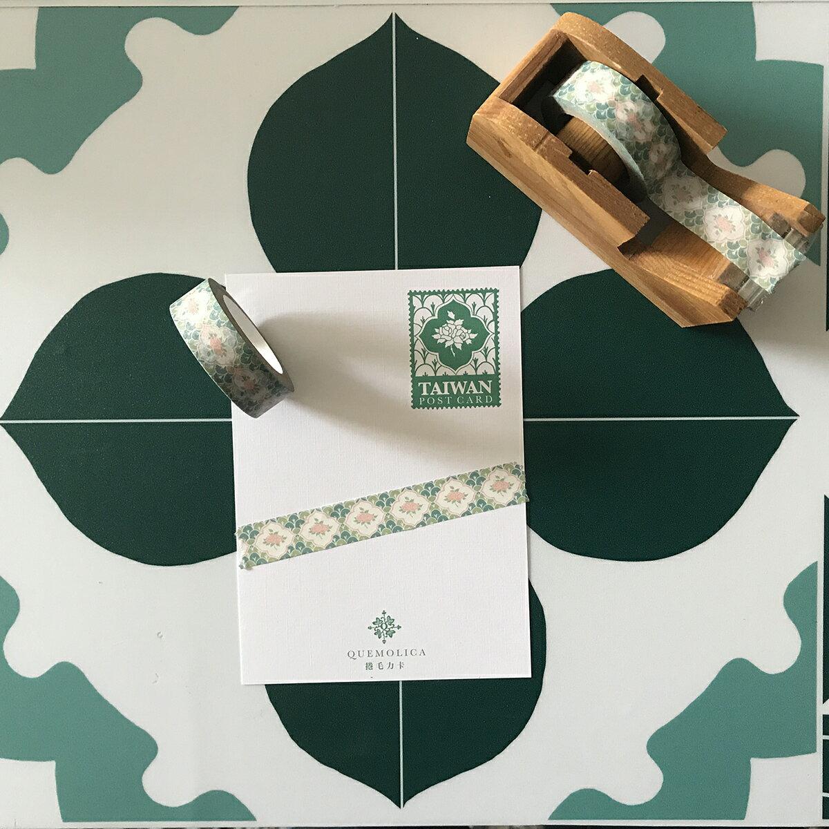 紙膠帶 - 森林玫瑰  花磚,台灣,捲毛力卡,四方連續,紙膠帶