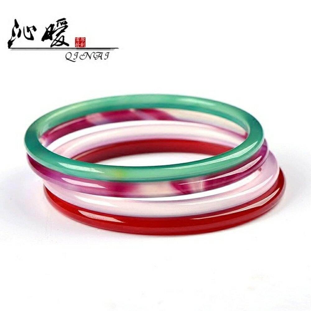 然粉玉髓手鐲 紅綠紫瑪瑙4mm超細鐲 水晶女鐲618購物節 0