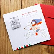 聖誕 書籤 系列-魯道夫和女孩 卡片 標籤 銀 洞洞