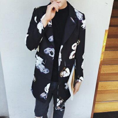☆風衣外套中長版花朵印花大衣-時尚帥氣翻領流行男外套2色73ip75【獨家進口】【米蘭精品】