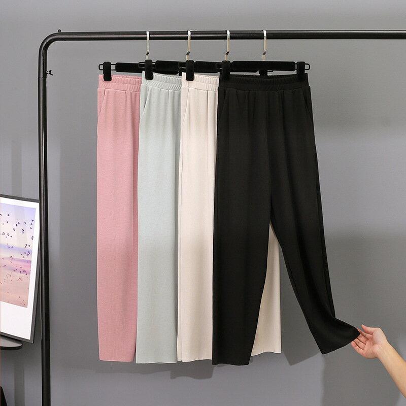 冰絲哈倫褲女高腰垂感2020新款休閒寬鬆顯瘦九分闊腿奶奶褲蘿蔔褲