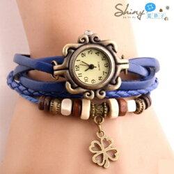 【50A28】shiny藍格子-玩色時尚.復古經典男女款四葉草編織手環★0304 - 0311滿499折50優惠券代碼 9YBE-BVOY-0FWM-N7UU★手錶