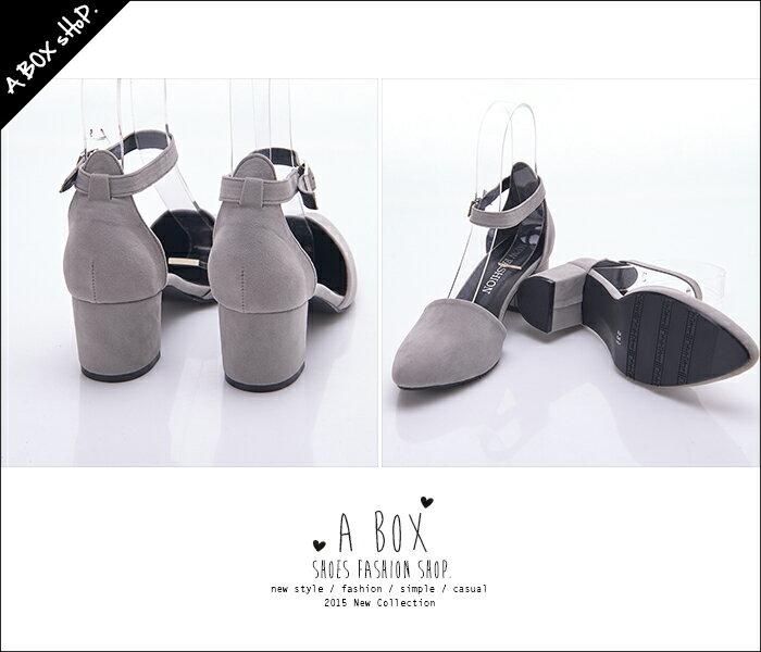 ★399免運★格子舖*【KWA903】MIT台灣製 經典時尚質感素面絨布 尖頭舒適粗高跟鞋 金屬繞踝瑪莉珍鞋 5色 1