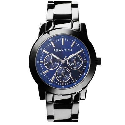 大高雄鐘錶城:RELAXTIME三眼黑x藍時尚腕錶(R0800-16-07)38mm