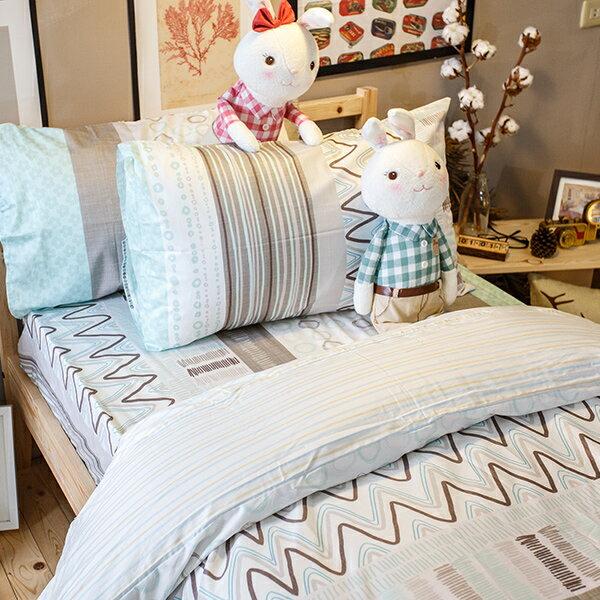 初夏早晨 雙人床包與新式兩用被5件組 100%精梳棉 台灣製 1
