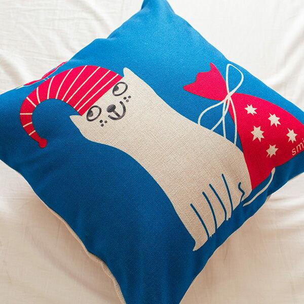 藍色小貓抱枕 棉麻  43cmX43cm 花色獨特 觸感扎實