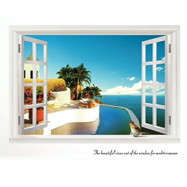 BO雜貨【YV1787-1】創意可移動壁貼窗景貼居家裝飾時尚組合壁貼室內佈置窗外地中海風情AY822