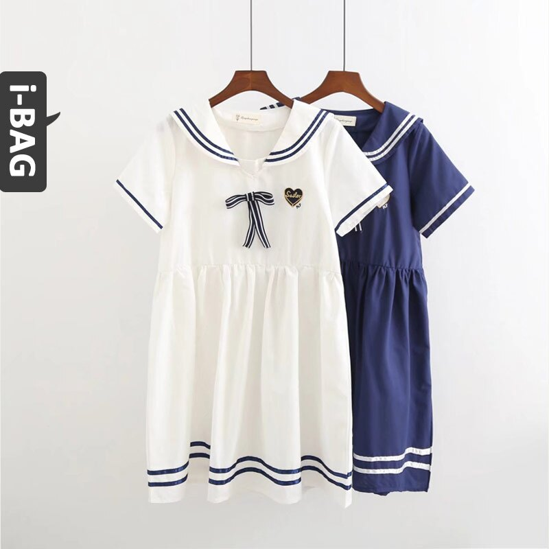B.A.G*現+預*【DA0007】愛心刺繡蝴蝶結海軍領袖洋裝(現+預)-2色