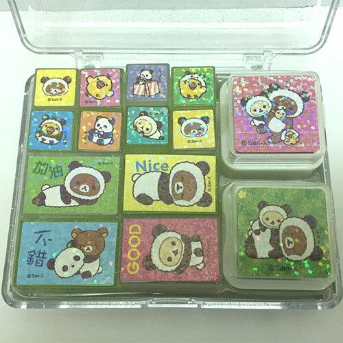 【真愛日本】17041300008 拉拉熊盒裝印章組-熊貓 SAN-X 懶熊 奶熊 拉拉熊 印章 小印章