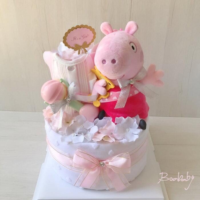 手作尿布塔:佩佩豬尿布蛋糕