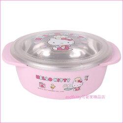 asdfkitty可愛家☆KITTY小廚師有蓋雙耳防燙304不鏽鋼碗-L號-學習碗-韓國製