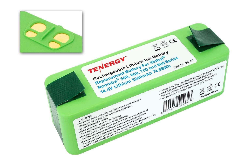 Tenergy 5200mAh iRobot Roomba Replacement Battery for R3 500 600 700 800  Series, 5 2Ah 14 4V Advanced Power System (APS) Li-ion iRobot Battery,  Bonus