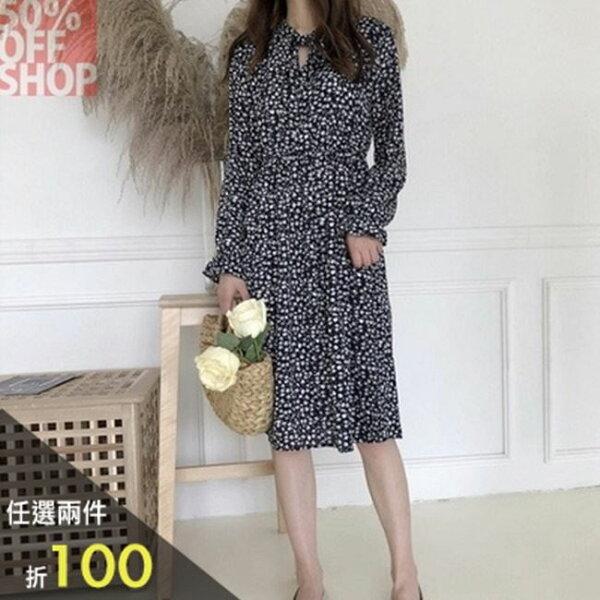 50%OFFSHOP港味復古裝小碎花系帶中長款長袖連衣裙(2色)【G035031C】