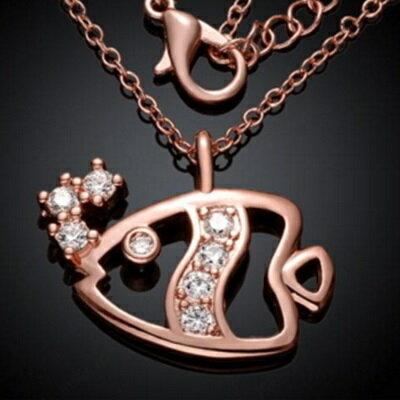 ~玫瑰金項鍊 純銀鑲鑽吊墜~ 可愛小魚兒母親節生日情人節 女飾品3色73br129~ ~~