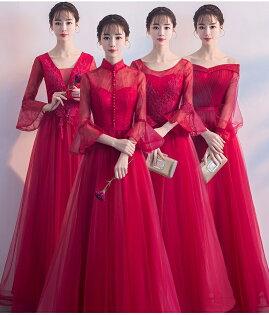 天使嫁衣【BL801C】酒紅色網紗蕾絲收腰高貴4款澎感長禮服˙預購訂製款