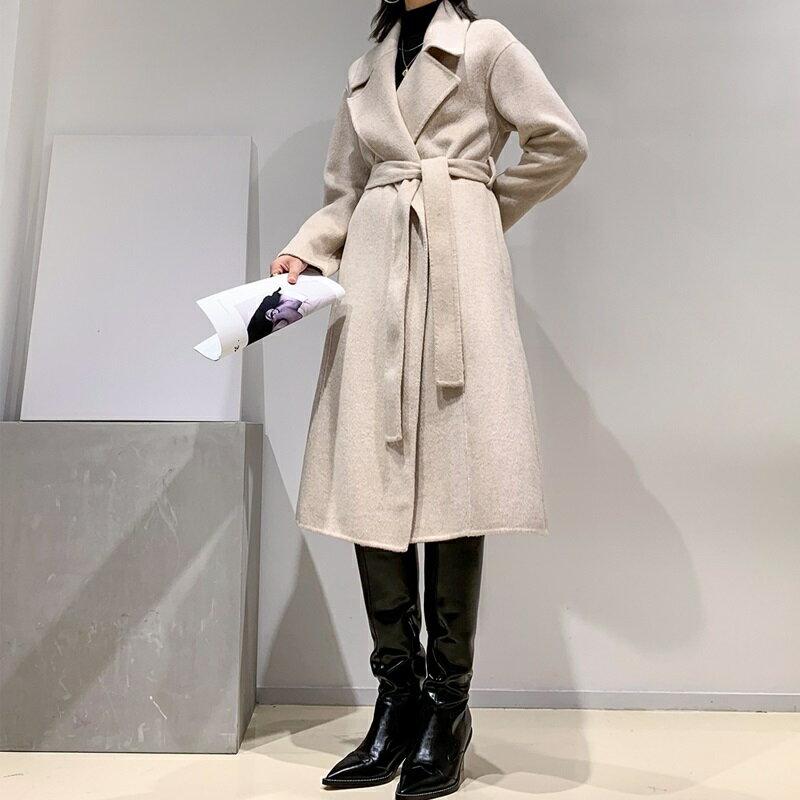 毛呢大衣羊毛外套-長版純色翻領寬鬆女外套2色73wb46【獨家進口】【米蘭精品】 2