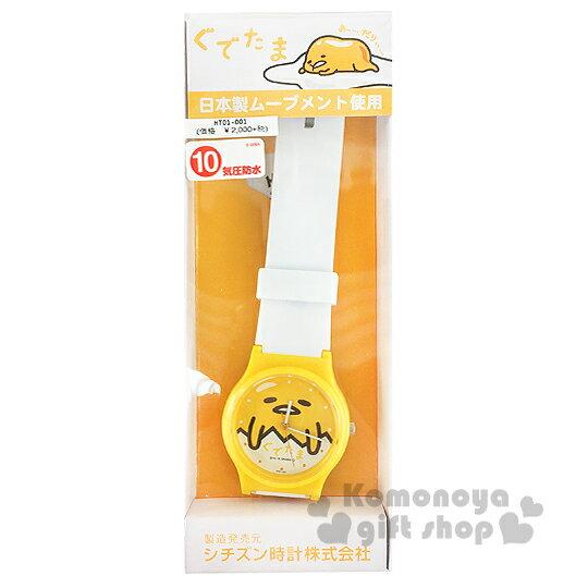〔小禮堂〕蛋黃哥 矽膠手錶《白黃.大臉》透明塑膠裝