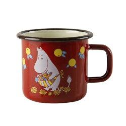 【芬蘭Muurla】嚕嚕米系列-復古嚕嚕米媽媽琺瑯馬克杯370cc(紅色)咖啡杯/琺瑯杯