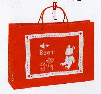 紙袋2K~20入~紅泰迪熊~棉把手 pbag~013