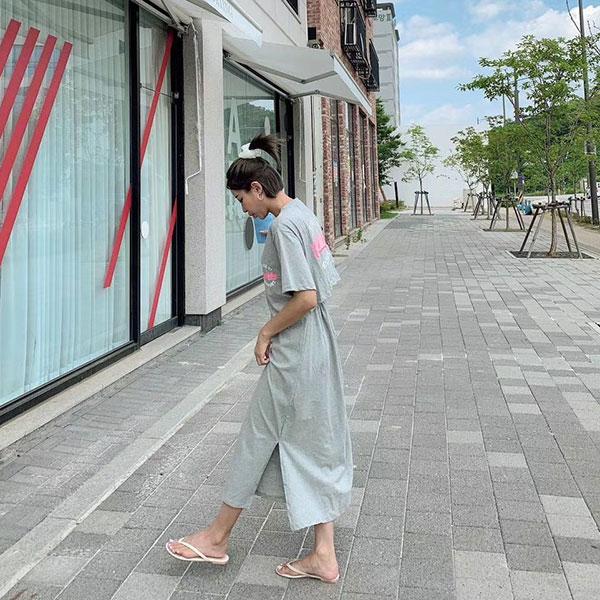 ANNAS 正韓 腰簍空 懶人裙 短袖 洋裝 棉質 休閒 彈性 長裙 長洋 長洋裝 長T 字母 韓國