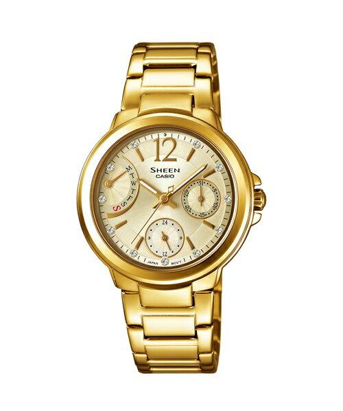 CASIO SHEEN SHE-3804GD-9A環扇時尚腕錶/金色面33mm