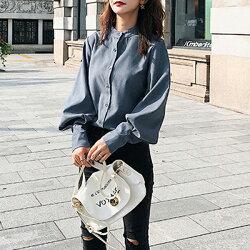 復古燈籠袖素面立領襯衫上衣2色 X RUNWAY FASHION ICON