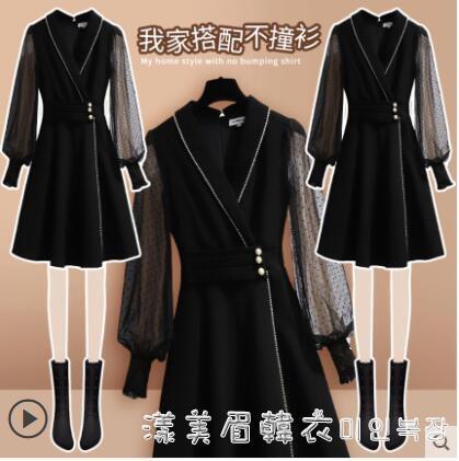黑色冷淡風女裝高級感連衣裙春裝2021年新款名媛高端氣質小黑裙子 凡卡時尚
