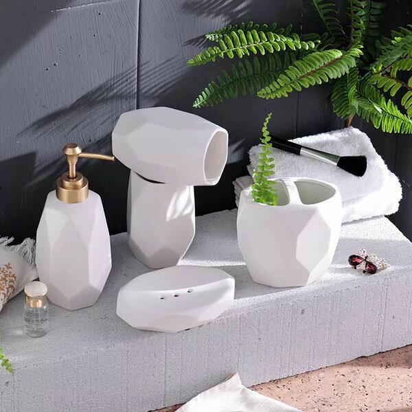 收納 裝飾 陶瓷牙刷架/漱口杯/肥皂盒  浴室用品五件組 北歐風