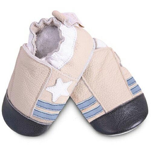【hella 媽咪寶貝】英國 shooshoos 安全無毒真皮手工鞋/學步鞋/嬰兒鞋 米色小星星 SCR14 (公司貨)