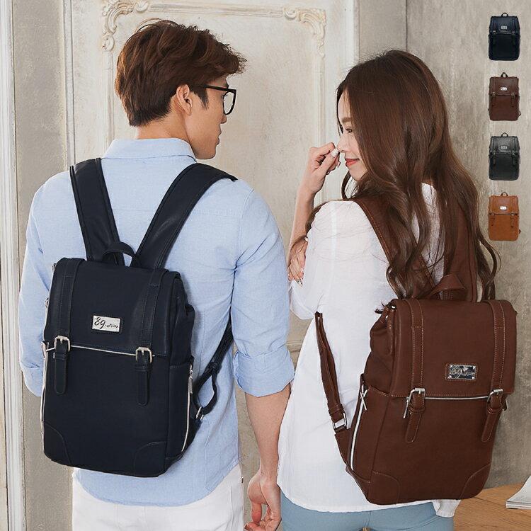 後背包 女包男包 獨家品牌耐磨皮革 多口袋雙排扣情侶後背包 89.Alley ☀4色 HB89172