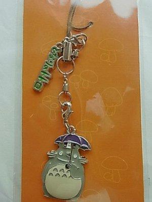 【真愛日本】10102400035 鐵片亮漆吊飾-灰龍貓撐傘 龍貓 宮崎駿 吊飾 鑰使圈 鎖圈 生活用品
