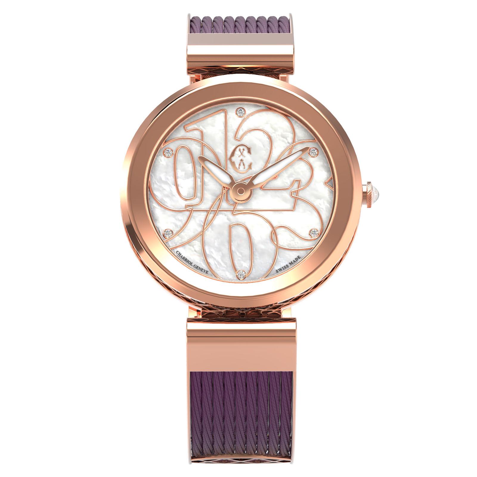 CHARRIOL夏利豪(FE32.A02.002)Forever系列半鋼索數字時尚腕錶/珍珠母貝面32mm