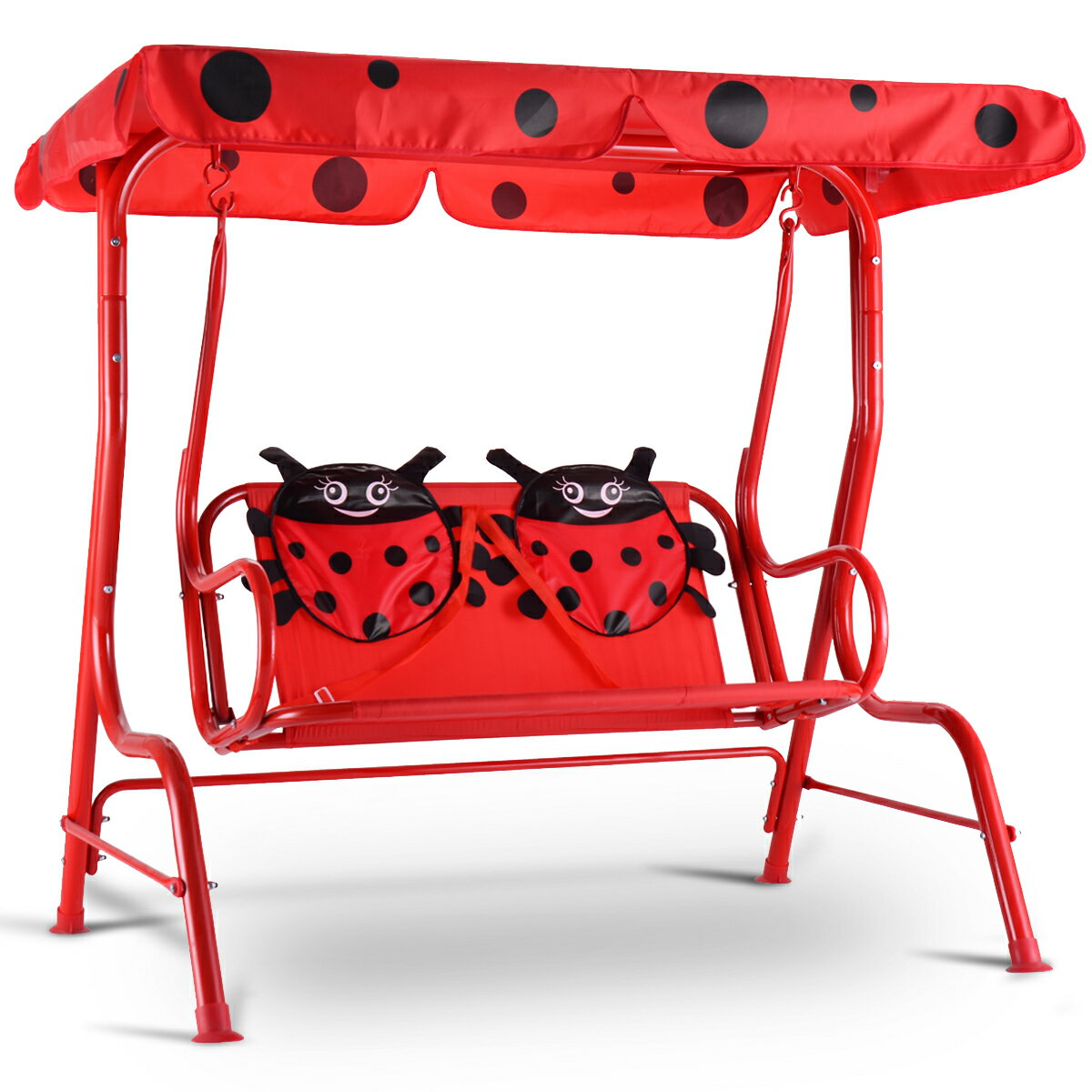 Costway Kids Patio Swing Chair Children Porch Bench Canopy 2 Person Yard  Furniture Red 0