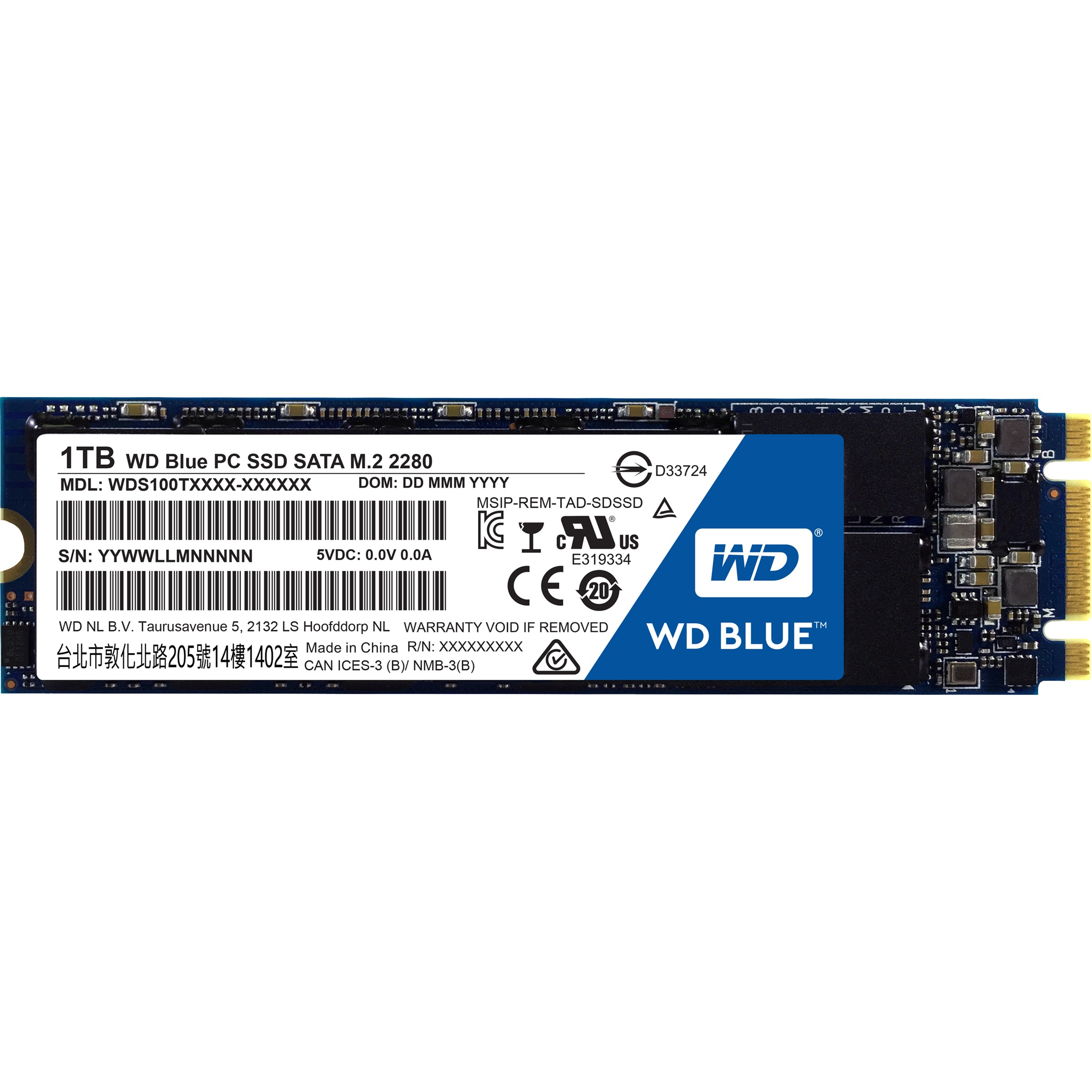 WD Blue SSD 1TB M.2 2280 1.0TB SATA III 6Gb/s 80mm Western Digital PC Internal SSD Solid State Drive 545MB/s Maximum Read Transfer Rate 525MB/s Maximum Write Transfer Rate WDS100T1B0B 0