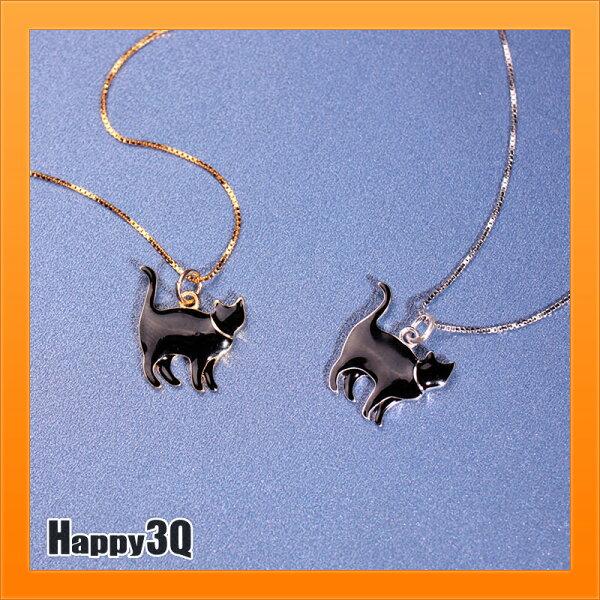 可愛黑貓項鍊40cm項鍊45cm黑貓項鍊方格鍊S925純銀項鍊-金銀【AAA4972】