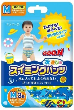大王 戲水褲 男褲 M號 3入  30cm~80cm