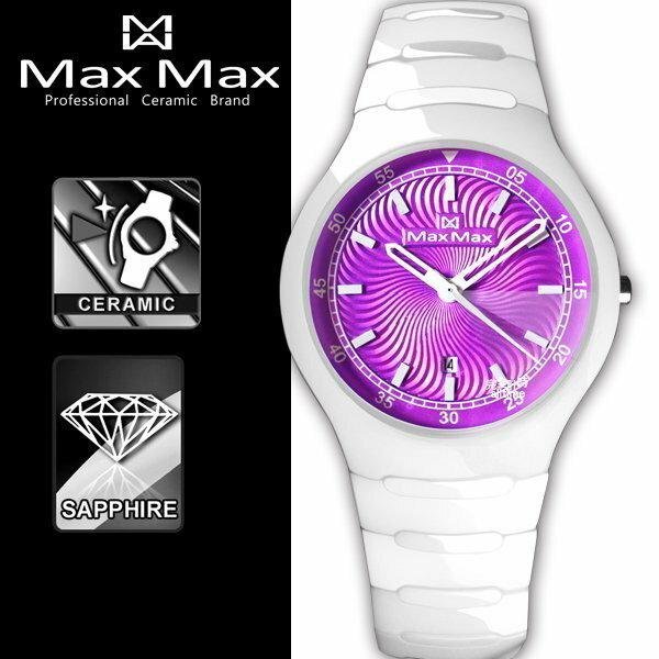 ~完全計時~手錶館│Max Max 繽果系列 立體鑽石切割鏡面陶瓷錶 白MA2S5091~