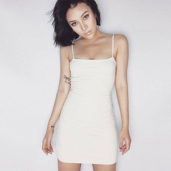 FINDSENSEG6韓國時尚復古顯瘦簡約純色彈力修身吊帶連衣裙長裙連身裙
