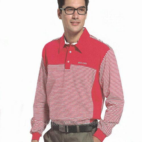 【義大利 SINA COVA】男女運動休閒吸濕排汗電腦條紋長POLO衫(紅#S813A) - 限時優惠好康折扣