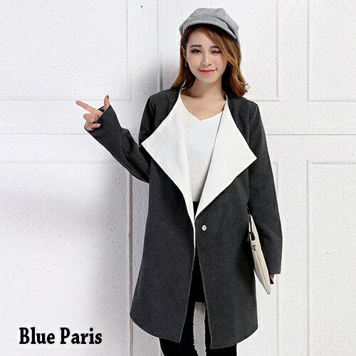 外套 - 翻領開襟一釦毛呢長大衣外套【29204】藍色巴黎《2色》現貨 + 預購 0