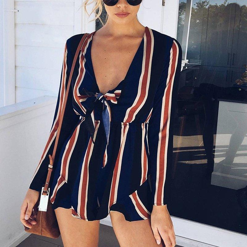 歐美新款性感深V低胸蝴蝶結休閒度假風條紋長袖連身褲 VAC7607