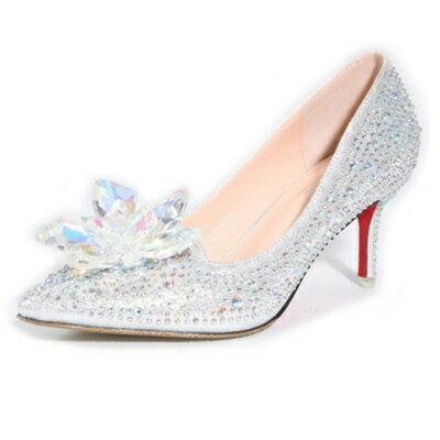 <br/><br/> ☆高跟鞋 水晶婚鞋-尖頭鑲鑽花朵百搭舒適女鞋子2色73e1【獨家進口】【米蘭精品】<br/><br/>