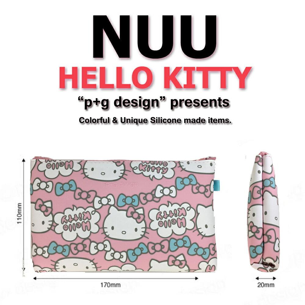 日本空運進口 p+g design NUU X HELLO KITTY 2016 繽紛矽膠拉鍊零錢包 - 粉色蝴蝶結款 2
