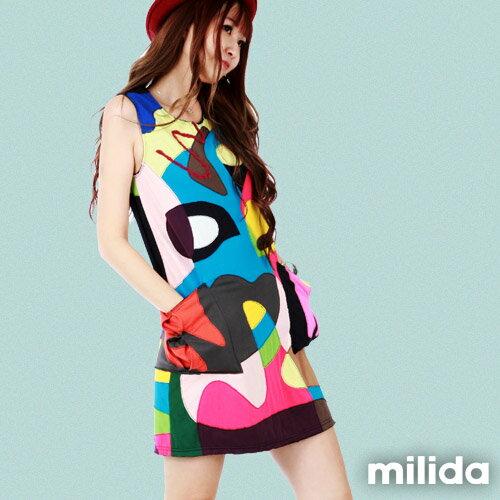 【Milida,全店七折免運】無袖大口袋可愛洋裝 3