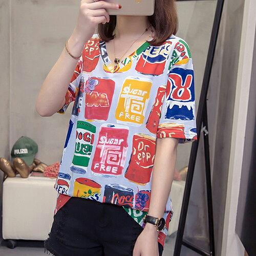 寬鬆印花半袖大碼t恤(2色L~4XL)【OREAD】 0
