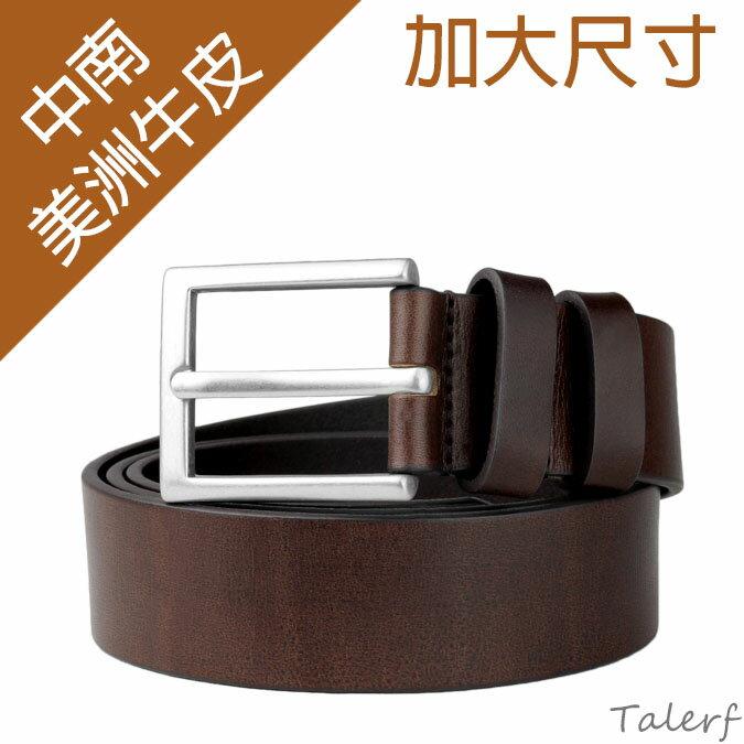 基本款單層加大尺寸紳士休閒帶(深咖色)→現貨 /牛皮 皮帶 腰帶